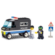 E Model Compatible with Lego E126 60pcs Police Car Models Building Kits Blocks Toys Hobby Hobbies For Boys Girls(China)
