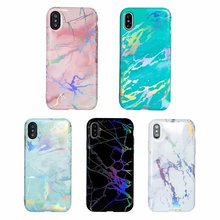 New Electroplating Bling Chrome Marble Stone Soft TPU Phone Case for iPhone 6s plus 7 7plus 8 8plus X IMD Glossy Full Cover Case(China)