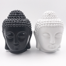 Aromatherapy Oil Burner Buddha Head Aroma Oil Station Ceramic Temple India Incense Black White Buddha Incense W $(China)