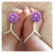 Retail Girls Barefoot Pearl Flower Foot Band Toe Rings Floral  Sandals  Prop Headband Hair Band Accessories
