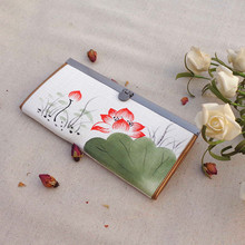 Chinese Ink Hand Painted Lotus Flower Women's Canvas Wallets Metal Edge Hasp Ladies Linen Horizontal Purse Notecase Money Bag