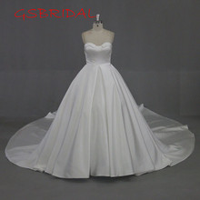 2017 New Romantic Scoop Long Tail Zipper Back Bridal Gown A Line Custom Size Satin Vintage Wedding Dresses Vestidos De Noiva(China)