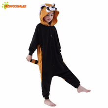 Newcosplay Unisex Cartoon Racoon Pajamas Children Cosplay Clothing Anime Cosplay Costume Kids Sleepwear Cute Jumpsuit(China)
