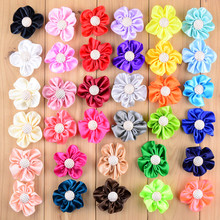 34pcs/lot 34colors 5cm Handmade Satin Ruffled Fabric Flower with Rhinestone Button For  Girl DIY Crafts Hair Accessories