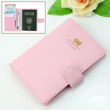 Pink Sweet Bowknot Crown Buckles Passport Holder Protect Cover Case Organizer set drop ship sale