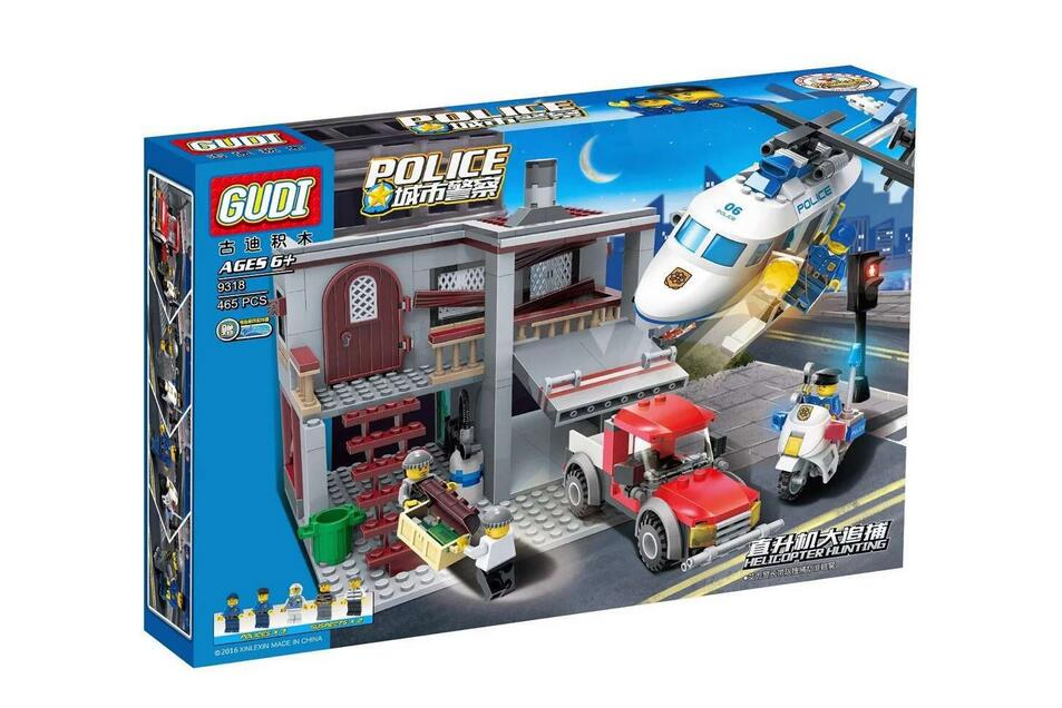 GUDI 9318 Police helicopter Catch figures Set Building Blocks Set Model Bricks Toys birthday gift for children Toys<br><br>Aliexpress