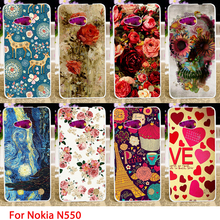 Soft TPU Cases For Microsoft Nokia Lumia 550 N550 4.7 inch Flowers Pattern Hard Cell Phone Cover Housings Bags Sheaths Skin Hood