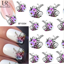 1 sheet Beauty Purple Flower Water Transfer Stickers DIY Nail Art Decorations Manicure Wraps Foil Decals Nail Tools BEXF1554(China)