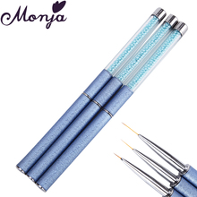 7/12/15mm Nail Art Metal Scrub Pearl Line Painting Brush with Cap Gel Polish Tips Flower Geometry French Smile Lines Drawing Pen