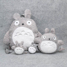 4pcs/set Totoro Plush Backpack Cute Soft School Bag with Totoro Pendant Doll for Children Cartoon Bag for Kids Boys Girls(China)