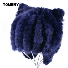 TQMSMY Rabbit Fur Hats for boys Knitted wool Beanies childrens lovely winter hat keep warm cat ear flaps bone girls cap for kids(China)