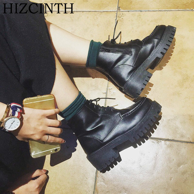 HIZCINTH 2017 Winter Ankle Booties Thick Bottom Platform Short Boots Leather Martin Boots Korean Fashion Shoes Woman Botas Mujer<br>