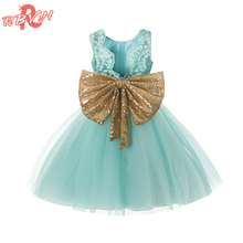 Fancy Lace Princess Girl Party Wear Children Kids Dresses For Girls Wedding Gown Gold Sequins Bow Little Baby Girl Summer Frocks