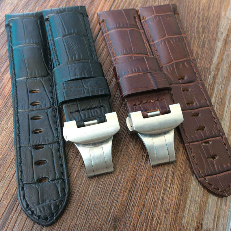 24mm Vintage Black Genuine Leather Watchband Strap Bracelet With Silver Butterfly Buckle Clasp For PAM Watch<br>
