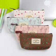 Sweet Little Flowers Lifestyle Canvas Large Capacity Pencil Bag Stationery Storage Organizer Case School Supply(China)