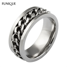 FUNIQUE 316L Stainless Steel Ring Bright Silver Color Rings For Lover Fashion Spinner Band Men's Ring With Curb Chain 1PC