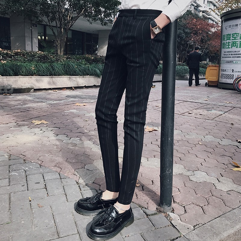 Pattern Stripe Pant 2018 Men Dress Pants Office Trousers Men Pantalon Costume Slim Fit Luxury Men Dress Pant Business Casual