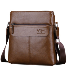 Mens Fashion High Grade PU Leather Shoulder Bag Cool Kangaroo Crossbody Bag Vertical Casual Messenger Bag Male Briefcase(China)