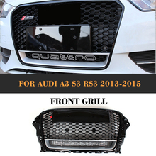 A3 Front Mesh Grille Honeycomb Grill for Audi A3 S3 Sine RS3 Convertible Sedan 13-15 Europe Version with camera hole ABS