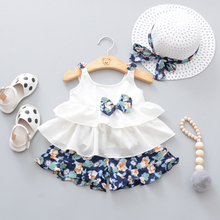 Buy 2018 Summer Newborn Baby Girl Clothes Strap Bow Vest + Floral Shorts + Fashion Hat 3Pcs Set Baby Clothing Suit Girls Clothes for $9.90 in AliExpress store