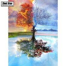 100% полный DIY 5D алмазов картина сезона дерево вышивки крестом алмазов Вышивка Крестом Картины Стразы Алмазная мозаика BK(China)