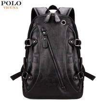 VICUNA POLO High Quality Practical PU Leather Mens Backpack Famous Brand Casual Men Laptop Backpack Black School Travel Backpack(China)