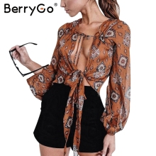 Buy BerryGo Print v neck chiffon blouse shirt Women summer long sleeve crop top blouse 2017 Sexy streetwear bow female blouse blusas for $10.99 in AliExpress store