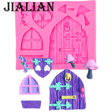 Fairy tale cottage Wood window door Love Flowers mushroom silicone mold DIY Cake Decorating Tools cooking baking mould T0513
