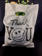 "25x35cm plastic gift bag , thick shopping bags for clothes packaging , gray ""Thank You"" pattern , 50pcs/lot"