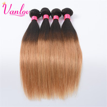 Vanlov Ombre Human Hair Malaysian Straight Hair Weave Bundles Blonde Hair Extension 1 Piece T1B/27 Non Remy Can Buy 3 or 4 PCS(China)