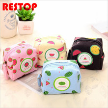 Candy Color Fruit Pattern Coin Change Purse Case Wallet Change Pocket Ladies For iPhone USB Cable Earphone Charger Bag RES244(China)