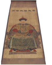 174*64cm Folk art collectable Hand painted Qing Dynasty qianlong emperor portrait old scroll painting Retro home decor