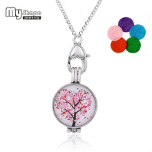 my shape Fashion Women Necklace Pink Red Love Heart Tree Of Life Perfume Locket Pendant Essential Oil Diffuser Necklace Gifts