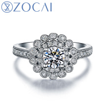 ZOCAI 100% natural diamond ring 0.32 ct certified diamond 18K white gold ring cluster diamond engagement ring W05978