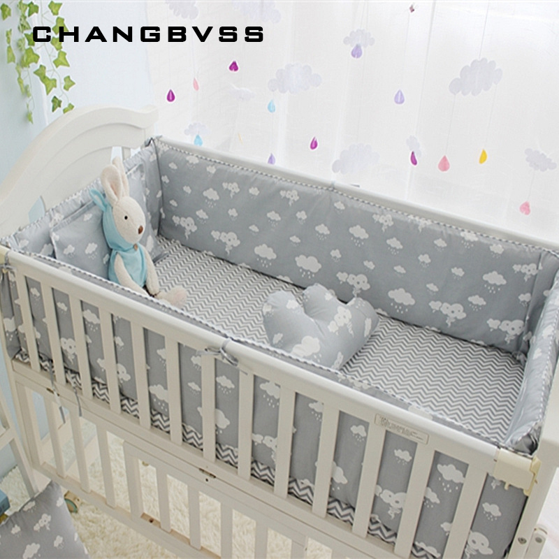 Newborn Crib Bedding Set 5pcs Bed Linen 100% Cotton 5pcs Baby Cot Bedding Set Include Bed Sheet Bumpers With Filling, 7 sizes<br>