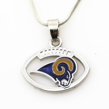 10pcs St. Louis Rams Football Team Football sports necklace Jewelry with snake chain(45+5cm) necklace Charms Pendant(China)