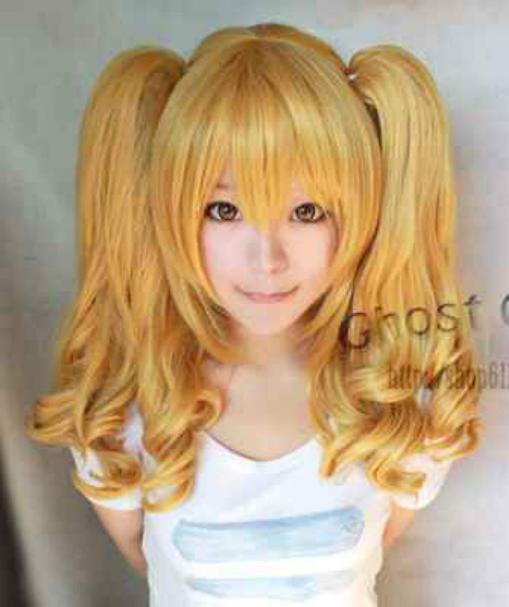 shun N1278 Popular New Long Dark Blonde Cosplay Wavy Wig With Two Clip On Ponytails 10.21<br><br>Aliexpress