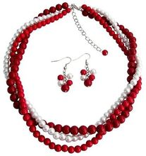 FREE SHIPPING>>> Red, Coral and White Pearl Twisted Three Strands Necklace Earrings Set(China)