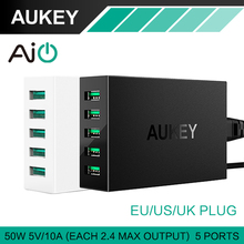 AUKEY 5 Ports Desktop USB Charger 50W/10A with AlPower Tech for iPhone iPads iPod Samsung Xiaomi &more Mobile Devices Tablets/PC