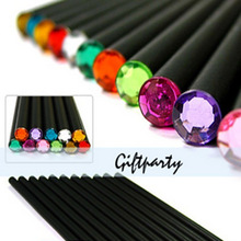 (12Pcs/Set) Pencil Hb Diamond Color Pencil Stationery Items Drawing Supplies Cute Pencils For School Basswood Office School Cute(China)