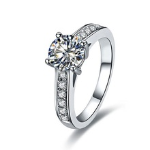 1CT Top Brand Style C&C Certified Moissanite Women Pure 18K White Gold Ring Simulate Diamond Test Real Never Fade