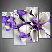AtFipan Wall Pictures For Bedroom Bunch Of Flowers In White And Dark Purple Painting Canvas Printing Unframed Modular Pictures
