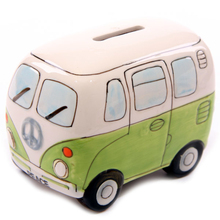 Free Shipping 1Piece Fancy Camper Money Box Ceramic Camper Van Coin Piggy Bank Gifts for Kid Money Saving Box Bus Car Moneybox