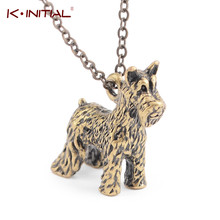 Kinitial 1pc 3D Small Schnauzer Bobtail Dog Breed Pendant Necklace Animal Dog Breeds Charm Necklace for Baby Jewelry Collares