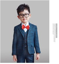 Winter England Plaid Wedding Suit For Boys Formal Wear Suits Boys Blazer Jacket+Pants+Vest Three Pieces Set KS-1624