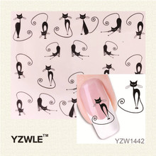 YZWLE Loveliness Cat Water Transfer Nail Stickers Gel Beauty Decal Makeup temptation Cartoon Cat Sweetheart Animation(China)