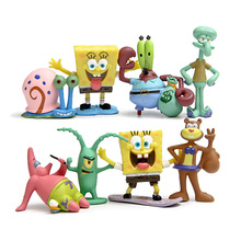 8pcs/lot Spongebob PVC Action Figure Toys Doll DIY Anime Sponge Bob Patrick Star Squidward Figure Classic Toys Gift for Kids