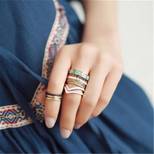 Bohemian Style Retro Punk Rhinestone Alloy Individual Midi Rings Geometric Finger Knuckle Ring set JZ-215