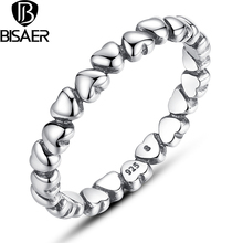 Authentic 925 100% Solid Sterling Silver Forever Love Heart Finger Ring Original Anniversary Jewelry HJ7108(China)