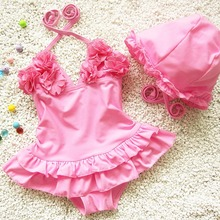 Plus Size XS-3XL New Mode Dress Kid Swimsuit One Piece Hood Solid Lacing Baby Girl Swimwear Summer Funny Korean Bikini 62034(China)